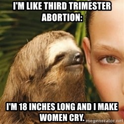 Whisper Sloth - I'm like third trimester abortion: I'm 18 inches long and I make women cry.