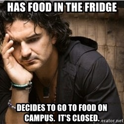 Ricardo Arjona - Has food in the fridge decides to go to food on campus.  it's closed.