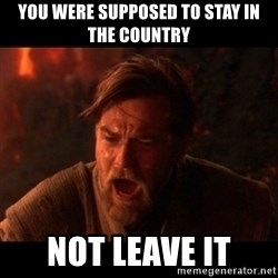 You were the chosen one  - You were supposed to stay in the country  not leave it