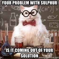 Science Cat - your problem with sulphur is it coming out of your solution