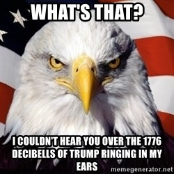 Freedom Eagle  - WHAT'S THAT? I COULDN'T HEAR YOU OVER THE 1776 DECIBELLS OF TRUMP RINGING IN MY EARS