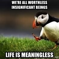 Unpopular Opinion - We're all worthless insignificant beings Life is meaningless