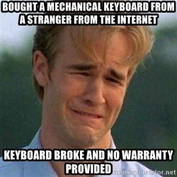 90s Problems - bought a mechanical keyboard from a stranger from the internet keyboard broke and no warranty provided
