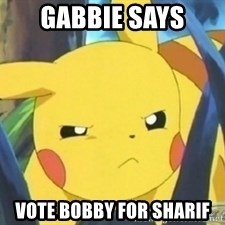 Unimpressed Pikachu - gabbie says vote bobby for sharif