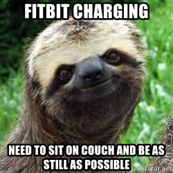 Sarcastic Sloth - Fitbit Charging Need to sit on couch and be as still as possible