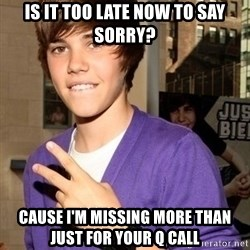 Justin Beiber - Is it too late now to say sorry? Cause I'm missing more than just for your q call