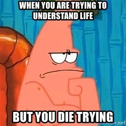 Patrick Wtf? - when you are trying to understand life but you die trying