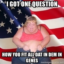Asinine America - I got one question How you fit all dat in dem in genes