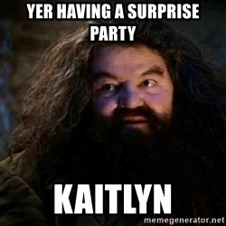 Yer A Wizard Harry Hagrid - Yer having a surprise  Party Kaitlyn