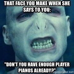 """Angry Voldemort - That face you make when she says to you: """"Don't you have enough player pianos already?"""""""