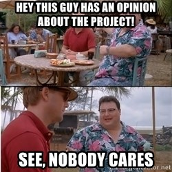See? Nobody Cares - hey this guy has an opinion about the project! see, nobody cares
