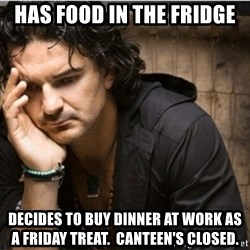 Ricardo Arjona - Has food in the fridge decides to buy dinner at work as a friday treat.  Canteen's closed.