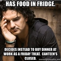 Ricardo Arjona - HAS FOOD IN FRIDGE. DECIDES INSTEAD TO BUY DINNER AT WORK AS A FRIDAY TREAT.  CANTEEN'S CLOSED.