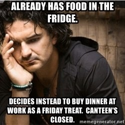 Ricardo Arjona - ALREADY HAS FOOD IN THE FRIDGE. DECIDES INSTEAD TO BUY DINNER AT WORK AS A FRIDAY TREAT.  CANTEEN'S CLOSED.