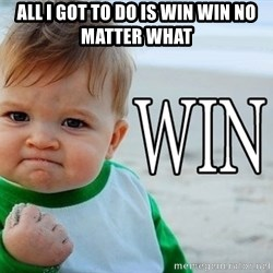 Win Baby - ALL I GOT TO DO IS WIN WIN NO MATTER WHAT
