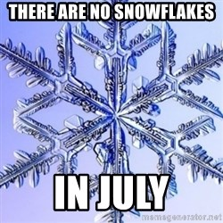 Special Snowflake meme - There are no snowflakes in July