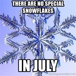 Special Snowflake meme - There are no special snowflakes in july
