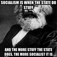 Marx - Socialism is when the state do stuff and the more stuff the state does, the more socialist it is