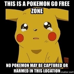 Pikachu crying - This is a Pokemon Go Free Zone No Pokemon may be captured or Harmed in this location