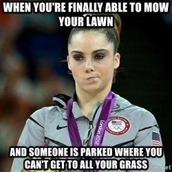 Not Impressed McKayla - When you're finally able to mow your lawn And someone is parked where you can't get to all your grass