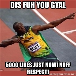 USAIN BOLT POINTING - Dis fuh you gyal 5000 likes Just Now! Nuff Respect!