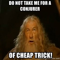 Gandalf You Shall Not Pass - Do not take me for a conjurer  of cheap trick!
