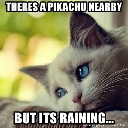 First World Problems Cat - Theres a pikachu nearby But its raining...