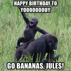 Happy Gorilla - happy birthday to yooooooou!! Go bananas, Jules!