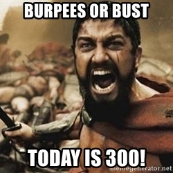 300 - Burpees or Bust Today is 300!