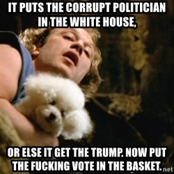 BuffaloBill - it puts the corrupt politician in the white house, or else it get the trump. now put the fucking vote in the basket.