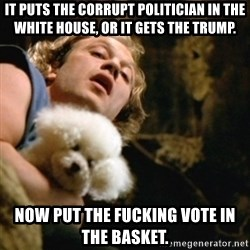 BuffaloBill - it puts the corrupt politician in the white house, or it gets the trump. now put the fucking vote in the basket.