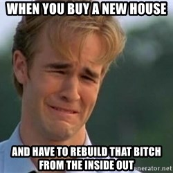 James Van Der Beek - when you buy a new house and have to rebuild that bitch from the inside out