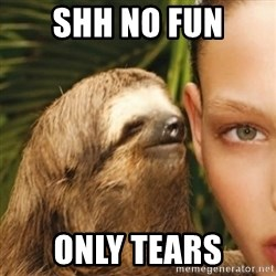 Whisper Sloth - SHH NO FUN ONLY TEARS