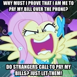 angry-fluttershy - Why must I prove that I am me to pay my bill over the phone? Do strangers call to pay my bills? Just let them!