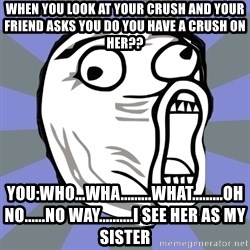 LOL FACE - when you look at your crush and your friend asks you do you have a crush on her?? you:who...wha.........what.........oh no......no way..........i see her as my sister