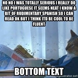 newspaper cat realization - no no i was totally serious i really do like portuguese it seems neat i know a bit of rudimentary spanish so i can read ok but i think itd be cool to be fluent bottom text