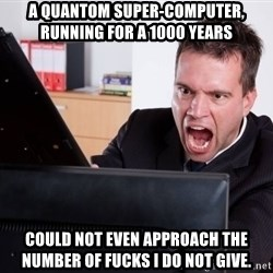 Angry Computer User - A quantom super-computer, running for a 1000 years could not even approach the number of fucks i do not give.