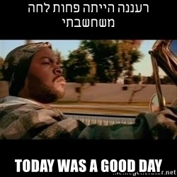 Ice Cube- Today was a Good day - רעננה הייתה פחות לחה משחשבתי today was a good day