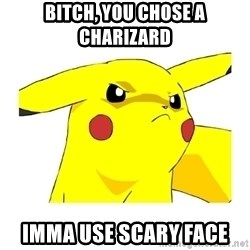 Pikachu - Bitch, you chose a Charizard IMMA USE SCARY FACE