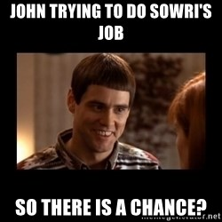 Lloyd-So you're saying there's a chance! - John trying to do Sowri's Job So there is a chance?