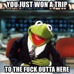 Breaking News Kermit - you just won a trip to the fuck outta here