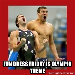 Ecstatic Michael Phelps -  Fun Dress friday is olympic theme