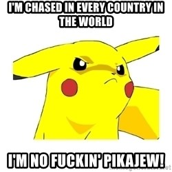 Pikachu - i'm chased in every country in the world i'm no fuckin' pikajew!