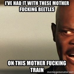 Snakes on a plane Samuel L Jackson - I've had it with these mother fucking beetles on this mother fucking train