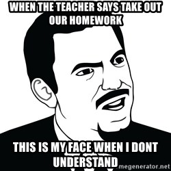 Are you serious face  - when the teacher says take out our homework this is my face when i dont understand