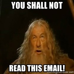 Gandalf You Shall Not Pass - You Shall Not Read this email!