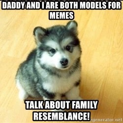 Baby Courage Wolf - daddy and i are both models for memes talk about family resemblance!