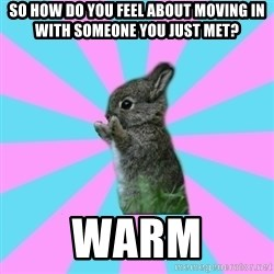 yAy FoR LifE BunNy - so how do you feel about moving in with someone you just met? warm