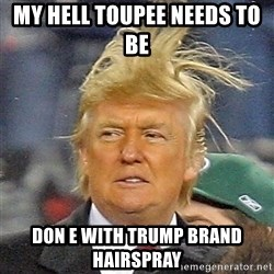 Donald Trump wild hair - my hell toupee needs to be   don e with trump brand hairspray