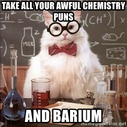 Chemistry Cat - TAKE ALL YOUR AWFUL CHEMISTRY PUNS AND BARIUM